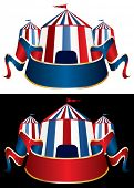 stock photo of tarp  - vector Illustration of a circus tent on black and white background - JPG