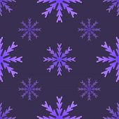 Seamless Pattern With Dark Purple Snowflakes On A Dark Purple Background. Snowflakes Of Different Si poster
