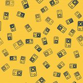 Blue Line Action Extreme Camera Icon Isolated Seamless Pattern On Yellow Background. Video Camera Eq poster