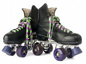 picture of roller-skating  - Retro roller skates isolated on white background - JPG
