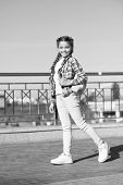 The Street Style Way. Little Cute Child With Beautiful Long Braided Hair Style. Adorable Small Girl  poster