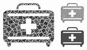 Medical Briefcase Mosaic Of Uneven Parts In Variable Sizes And Color Tints, Based On Medical Briefca poster