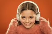 The Technology Uses Focused Sound Waves. Small Child Wearing Wireless Stereo Headphones. Technology  poster