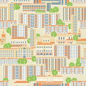 Panel High-rises And Historic Historic Houses Form A Seamless Pattern. Vector Full Color Graphics poster