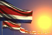 Wonderful Memorial Day Flag 3d Illustration  - Many Costa Rica Flags On Sunset Placed Diagonal With  poster