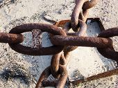 Group Of Old And Rusty Chain Links On Background Of Sea Sand. Old Rusty Chain Link Macro poster