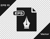 Grey Eps File Document. Download Eps Button Icon Isolated On Transparent Background. Eps File Symbol poster