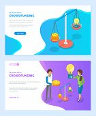 Crowdfunding Vector, Scaling Idea With Abilities, Women With Light Bulb, Scales And Big Gold Dollar  poster