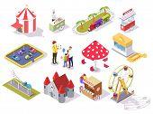 Amusement Park Vector Flat Isometric Icon Set poster