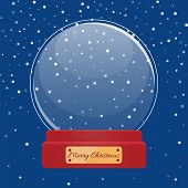 Postcard Snow Globe With Snowflakes Inside And Golden Greeting Board Happy New Year. Christmas Holid poster