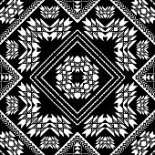 Geometric Tribal Black And White Seamless Pattern. Vector Ornamental Ethnic Style Background. Stripe poster