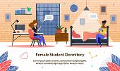 Female Student Dormitory, Vector Illustration. Comfortable Accommodation While Studying At Universit poster