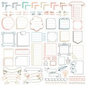 Bullet Journal Hand Drawn Vector Elements For Notebook, Diary And Planner. Doodle Banners Isolated O poster