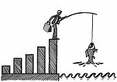 Freehand Drawing Of Business Man At Peak Of Growth Chart Catching A Big Fish With A Fishing Rod. Met poster