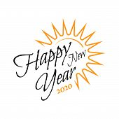 Happy New Year 2020 On White Background. .hand Drawn Curve And Swirl Of New Year 2020 .celebrations  poster