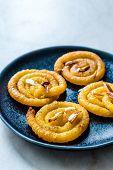 Jalebi Or Jilbi Or Imarati, Indian Sweet Food Fried In Pure Ghee Gujarat Crispy Fafda. poster