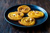 Jalebi Or Jilbi Or Imarati, Indian Sweet Food Fried In Pure Ghee Gujarat Crispy Fafda. Traditional F poster