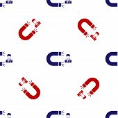Blue And Red Customer Attracting Icon Isolated Seamless Pattern On White Background. Customer Retent poster