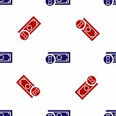 Blue And Red Fast Payments Icon Isolated Seamless Pattern On White Background. Fast Money Transfer P poster