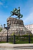 stock photo of hetman  - Historic monument to Hetman Bogdan Khmelnitsky on Sofia square in Kiev Ukraine - JPG