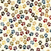 stock photo of paw-print  - Editable vector seamless tile of dog paw prints - JPG
