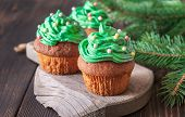 Cupcakes Decorated With Colourful Sprinkles With Christmas Tree Branch poster