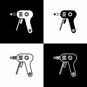 Set Electric Hot Glue Gun Icon Isolated On Black And White Background. Hot Pistol Glue. Hot Repair W poster