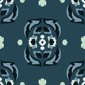 Vector Folklore Rose And Leaves Symmetrical Composition On Blue Seamless Pattern Background. poster