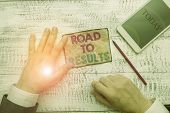 Text Sign Showing Road To Results. Conceptual Photo Business Direction Path Result Achievements Goal poster