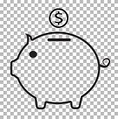 Piggy Bank Icon On Transparent Background. Flat Style. Pig Money Icon For Your Web Site Design, Logo poster