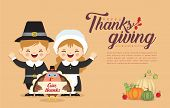 Thanksgiving Template Or Copy Space. Cute Cartoon Pilgrim Boy & Girl With Turkey Bird Holding Thanks poster