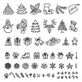Big Set Of Christmas, New Year Design Element In Doodle Style. Traditional Symbols Of New Year, Chri poster