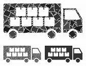 Goods Transportation Truck Composition Of Joggly Parts In Different Sizes And Shades, Based On Goods poster
