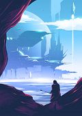 An Imagery Scientific Illustration Of A Humankind Colonization On A Far Away Planet In The Galaxy On poster