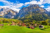 Grindelwald, Switzerland Aerial Village View And Autumn Swiss Alps Mountains Panorama Landscape, Woo poster