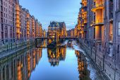 Speicherstadt Warehouses Along The Canal, Hamburg, Germany - Hdr poster
