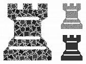 Chess Tower Mosaic Of Irregular Pieces In Different Sizes And Color Tinges, Based On Chess Tower Ico poster