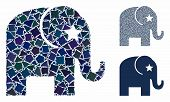 Elephant Composition Of Humpy Items In Different Sizes And Color Tinges, Based On Elephant Icon. Vec poster