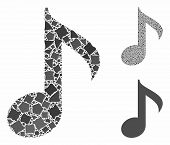 Musical Note Mosaic Of Rugged Parts In Various Sizes And Color Tints, Based On Musical Note Icon. Ve poster