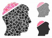 Open Mind Composition Of Rough Elements In Various Sizes And Color Hues, Based On Open Mind Icon. Ve poster