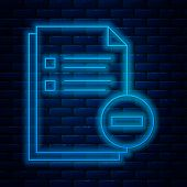 Glowing Neon Line Document With Minus Icon Isolated On Brick Wall Background. Clear Document. Remove poster