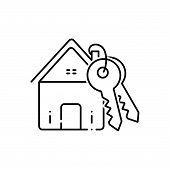 Black Line Icon For Home-loan Home Loan Mortgage Finance Property Real-estate poster
