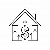 Black Line Icon For Property-price Property Price  Accumulation Mortgage-price poster