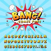 Comic Book Alphabet. Retro Cartoon Comic Book Graphic Font Elements, Alphabet Letters And Numbers Sy poster