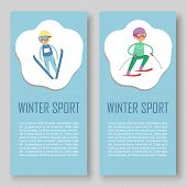Skiing And Winters Sports Vector Banners Set. Cartoon Illustration Of Skier Sportsman Riding On Snow poster