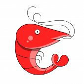 Shrimp Seafood. Isolated Shrimp On White Background. Logo. Prawns. Eps 10. Vector poster