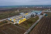 Fuel Top View, Drone At A Small Modern Winery In The Fall. Modern Winery With Large Tanks For Fermen poster