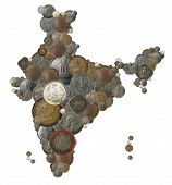 image of indian money  - Indian country map created with old new and vintage india currency coins - JPG
