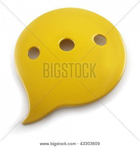 Plastic speech balloon isolated on white background.