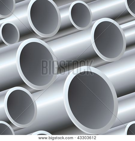 3D seamless steel pipes pattern vector illustration.